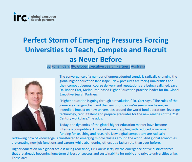 Perfect Storm of Emerging Pressures Forcing Universities to